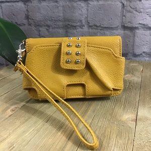 🌈 SALE! 3/$15 Mustard yellow stud wallet wristlet